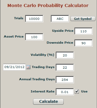 Options trade and probability calculator